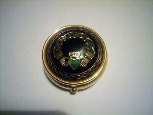 Exquisite Claddagh Design Enamelled Pill / Trinket Box