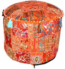"""Indian Handmade 22"""" Vintage Round Pouf Cover Ottoman Footstool Pouf Covers Throw"""