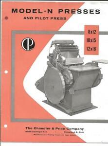 Adv Folder~Printing Press~Paper Cutter~Chandler & Price~Cleveland,Ohio~8pp~c1950