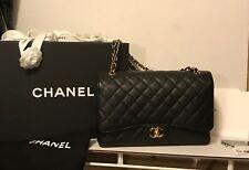 Chanel Black Caviar Burgundy Jumbo Classic Maxi Double Flap Gold Hardware