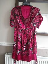 Debenhams Star by Juliene MacDonald Size 8 pink satin feel, beaded, lined dress