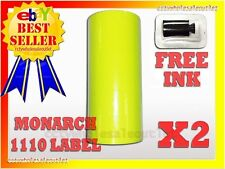 2 Sleeves Fluorescentyellow Label For Monarch 1110 Pricing Gun 2Sleeves=32Rolls