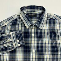 Banana Republic Button Up Shirt Men's Medium Long Sleeve Navy Cream Slim Fit