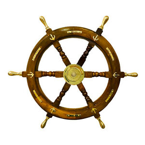 """24"""" Wooden Ship Steering Wheel with Brass Anchor & Strips, Classic Ship Wheel"""