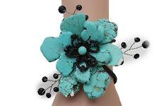 New Women Stretch Cuff  Bracelet Fashion Light Blue Flower Stones Floral Jewelry