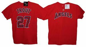 TROUT # 27 Anaheim ANGELS MLB PLAYERS MAJESTIC SHIRT 2 Sided KIDS L XL