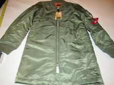 NWT MENS ALPHA INDUSTRIES  MA-1 LONG BOMBER SAGE GREEN EXTRA SMALL XS BRAND NEW