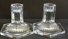 Tiffany & Co 1992 Louis Comfort Tiffany Collection Crystal Pair Candle Holders