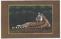 Indianer Miniatur Tiger Malerei Wasser Farbe Papier Wanddekoration Handgefertigt