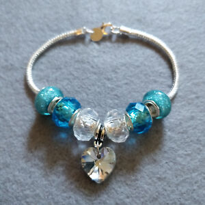Silver Plated Charm Bracelet with Blue Acrylic and Glass Charms UK