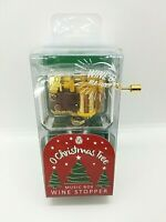 "NEW Wind Up Christmas Music Box Wine Bottle Stopper ""O CHRISTMAS TREE"" Holiday"