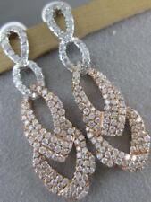 MODERN PAVE DIAMOND 18K WHITE ROSE GOLD HANGING CHAIN JOURNEY EARRINGS #MBE6866R