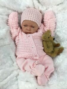 REBORN GIRL DOLL PINK KNITTED SPANISH OUTFIT WITH DUMMY A