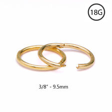 "Gold Plated 925 Sterling Silver Hinged Nose Ring Hoop 3/8"" - 9.5mm 18 Gauge 18G"