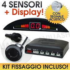 KIT 4 SENSORI parcheggio DISPLAY LED cicalino acustico e kit di fissaggio
