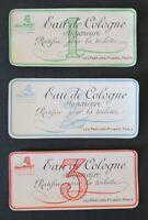 3 étiquettes parfum EAU DE COLOGNE RECTIFIÉE Pivard Paris Perfume Label French