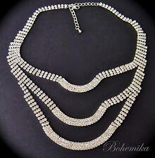 Vintage Art Deco Necklace Glass Rhinestone Crystal Collana Collier