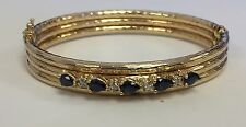 Estate~14KT Yellow Gold Natural Blue Sapphire & Diamond Bangle Bracelet - Hinged