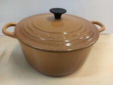 Le Creuset 22 cast iron enamel lidded saucepan casserole dish brown H2