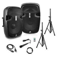 Dual Loudspeaker Sound Package, 8''  Subwoofers, Bluetooth, 2 Speaker Stands