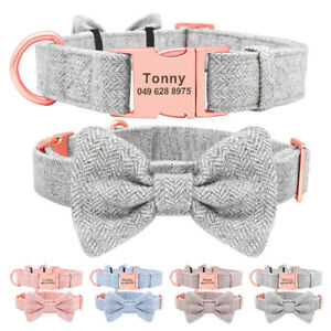 Detachable Bow Tie Tweed Personalised Dog Bow with Free Engraving Name & Number