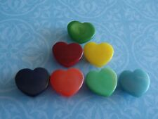 7 Vintage Plastic Heart Buttons 15mm Jewelry Craft Scrapb Handbag Quilt Sew Knit