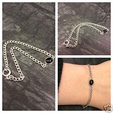 Silberarmband mit Onyx schwarz Cabochon 835er Silber Onyxarmband Damen 18,7 cm