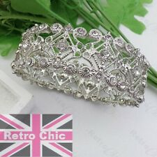 SILVER FASHION stretch CRYSTAL BRACELET cuff VINTAGE STYLE antique RETRO