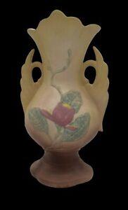 "Vintage '40's Hull Art U.S.A 17-12 1/4"" Matte Magnolia Double Swan Handle Vase"