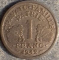 PIÈCE MONNAIE 1 FRANCS ETAT FRANCAIS   Aluminium 1942         Ref : 00063