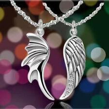 2Pcs/Set Couple Silver Necklace Angel Wings Pendant Lovers Charm Neck Chain