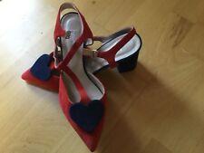 Sandaletten Slingpumps Heine rot blau Gr. 40 Luxus Top UVP 139,90 Dirndlschuh