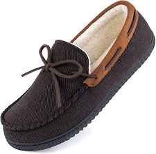 ULTRAIDEAS Men's Comfort Moccasin Slippers Memory Foam House Shoes with Rubber