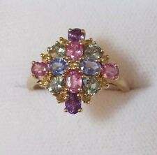 Green Tourmaline Cluster Cocktail Ring sz 7.5 Qvc 375 9ct Yellow Gold Pink Blue