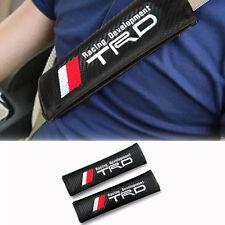 2PC T.R.D Black Carbon Fiber Seat Belt Shoulder Pads/Cover JDM Racing USA SELLER