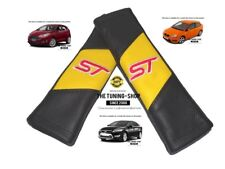 "2x Seat Belt Covers Pads Yellow & Black Leather ""ST"" Edition Embroidery For Ford"
