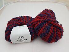 400 g SOPHIA Lang Yarns Blau/Rot 87 % Alpaka 13 % Schurwolle