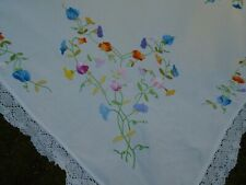 More details for vintage hand embroidered floral linen tablecloth, sweet peas