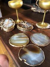 Natural Caramel Agate 24ct Gold Edge, Gilded, Quartz Premium Coasters (set of 4)