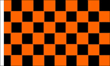 Black & Orange Check Flag (Sleeved) Banner Decoration Checkered Motor Racing