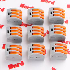 10PCS Terminal Block Lever Home Wire Connector 3 Pole Cable Clamp Nuts Reusable