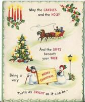 VINTAGE CHRISTMAS VICTORIAN TREE HORSE SLEIGH SNOWMAN CANDLES GREETING ART CARD