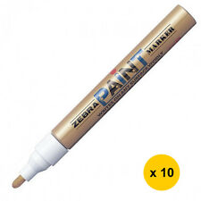Zebra MOP-200MZ 1.5mm Free Ink System Oil-based Paint Marker (10pcs)-GLD
