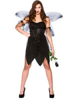 Adult Ladies Black Bad Fairy Naughty Halloween Angel Wings Fancy Dress Costume