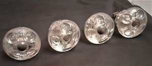 Set of 4 Antique Pressed Glass Chest of Drawer Pulls 1820s Era