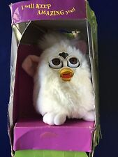 1998 ELECTRONIC FURBY, WHITE, BROWN EYES MODEL 70-800,TIGER ELEC NEW CONDITION