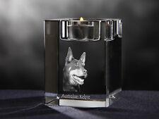 Australian Kelpie, crystal candlestick with dog, souvenir, Crystal Animals Usa