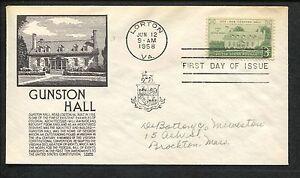 1958 George Mason's Gunston Hall Lorton Virginia FDC US Stamp #1108