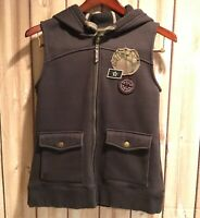 Cabela's Hooded Vest Gray Zip Front Solid Men's Polyester Cotton Patches Medium
