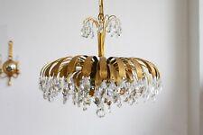 TRUE VINTAGE PALWA Lüster KRONLEUCHTER DECKENLAMPE Messing Kristall floral 60er